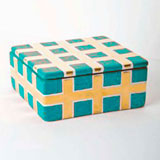 Grid Turquoise Trinket Box by Wayland Gregory Ceramics | Gracious Style