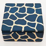 Giraffe Print Blue Trinket Box by Wayland Gregory Ceramics | Gracious Style