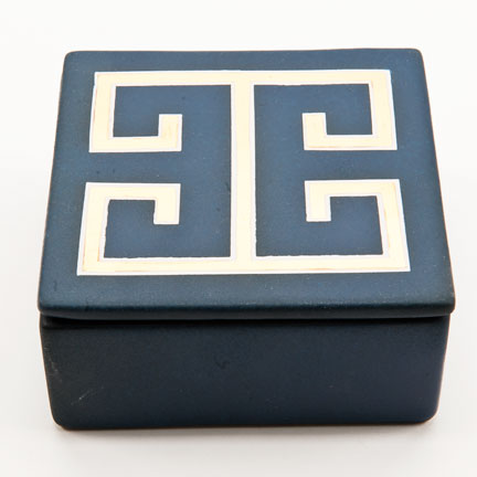 Greek Key Blue Trinket Box