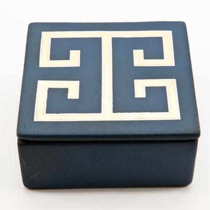 Greek Key Blue Trinket Box