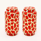 Giraffe Print Red Salt & Pepper Shakers by Wayland Gregory | Gracious Style