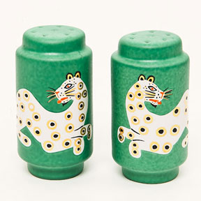 Leopard Green Salt & Pepper Shakers by Wayland Gregory | Gracious Style