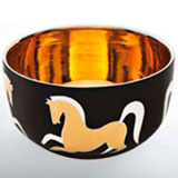 Dancing Horse Black Chubby Bowl by Wayland Gregory Ceramics | Gracious Style