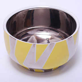 Zebra Yellow/Platinum Chubby Bowl by Wayland Gregory Ceramics | Gracious Style