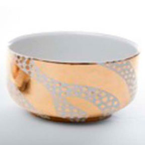 Zebra Dots Gold Chubby Bowl by Wayland Gregory Ceramics | Gracious Style