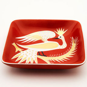 Bird Red Tray by Wayland Gregory Ceramics | Gracious Style