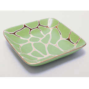 Giraffe Print Lime/Gold Tray by Wayland Gregory Ceramics | Gracious Style