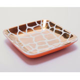 Giraffe Print Orange/White Tray by Wayland Gregory Ceramics | Gracious Style