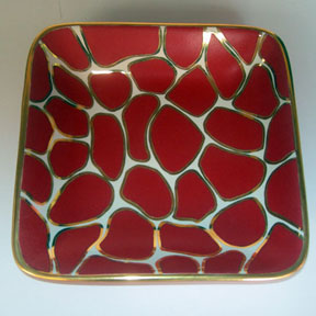 Giraffe Print Red/Gold Tray by Wayland Gregory Ceramics | Gracious Style