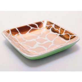 Giraffe Print Green&#47;Gold Tray by Wayland Gregory Ceramics &#124; Gracious Style