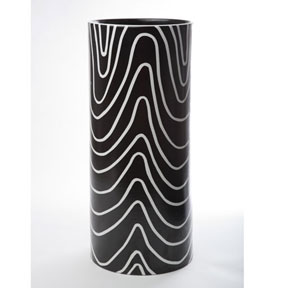 Electric Lines Black Umbrella Stand by Wayland Gregory Ceramics &#124; Gracious Style