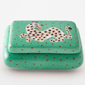 Leopard Green Curved Box by Wayland Gregory Ceramics | Gracious Style