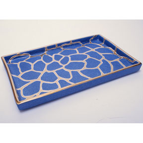 Giraffe Print Blue/Platinum Tray by Wayland Gregory | Gracious Style