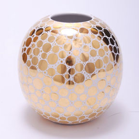 Gold dot globe vase by wayland gregory ceramics gracious for Dot wall vase