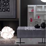 Le Jacquard Francais Geometric Flowers Black & White Table Linens | Gracious Style
