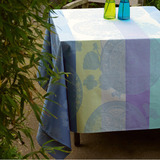 Fleurs Gourmandes Coated Light Blue Table Linens