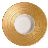 Hemisphere Gold Large Rim Soup Plate 8.75 oz 10.5 in Round | Gracious Style
