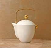 Hemisphere White Tea/Coffee Pot with Gold Accents 8.25 in High 33.25 oz | Gracious Style