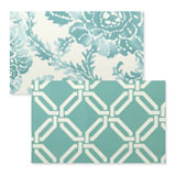 Reversible Placemats - Aqua Floral Greek Key | Gracious Style