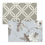Reversible Placemats - Blue Floral Greek Key | Gracious Style