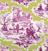 Green&#47;Violet Toile Napkins 