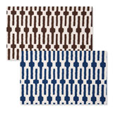 Reversible Placemats - Indigo Chocolate Links | Gracious Style