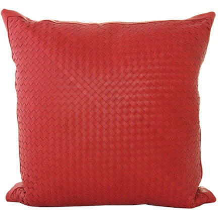 Atelier Red Leather Pillow