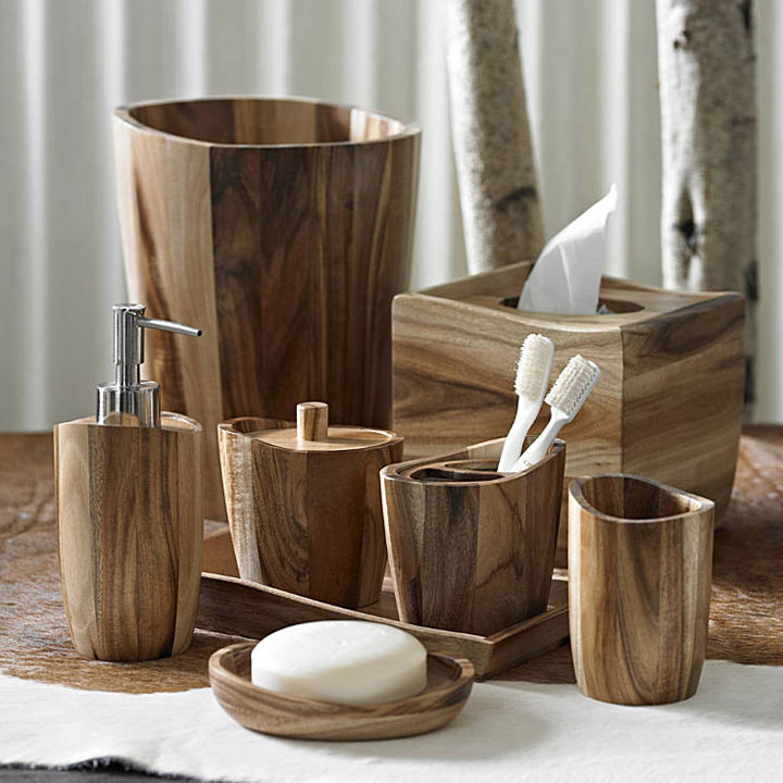 Kassatex acacia wood bath accessories gracious style for Where to find bathroom accessories