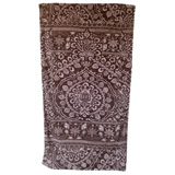 Bohemian Damask Taupe/Bark Cotton Beach Towel by Fresco | Gracious Style