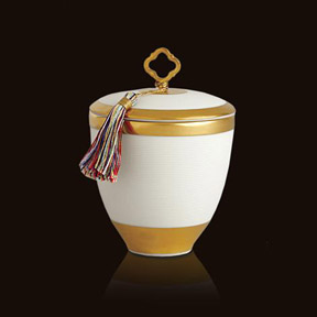 L'Objet Luminescence Small Key Tassel White Limoges Porcelain Candle | Gracious Style