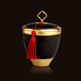 L'Objet Luminescence Small Key Tassel Black Limoges Porcelain Candle | Gracious Style