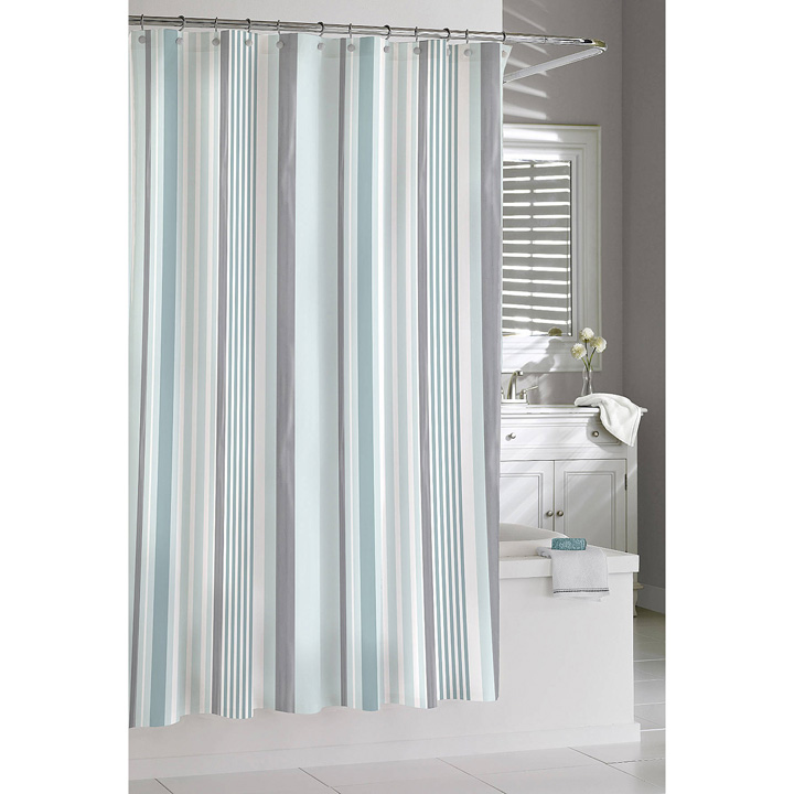 Kassatex Charlotte Stripe Shower Curtain Blue Silver Gracious Style