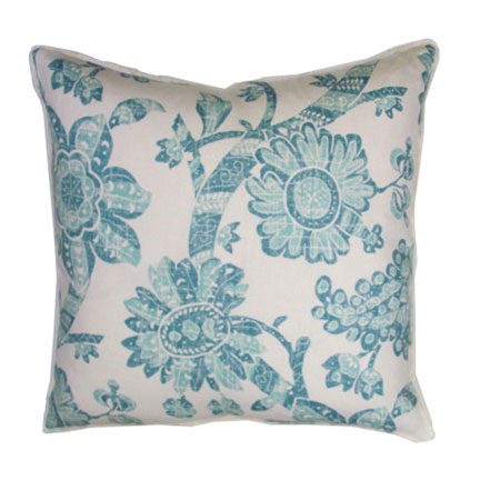 Peacock Batik Resist Throw Pillow 20 in Sq