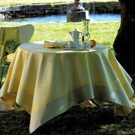 Garnier Thiebaut Eugenie Yellow Table Linens &#124; Gracious Style