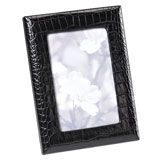 Black Crocodile Embossed Leather Picture Frame | Gracious Style
