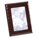 Brown Crocodile Embossed Leather Picture Frame | Gracious Style
