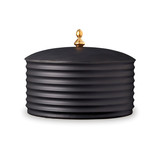 Han Canisters Black Bowl with Lid 9 x 7 in