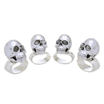 Set of Four Skull Napkin Rings