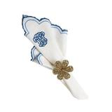 "Heirloom Napkin Whitewash/Delft Blue 22""Sq"