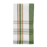Country Plaid Napkin Green/Orange 22 in Sq
