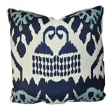 Kazak Navy Linen/Cotton Pillow