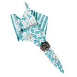 "Acanthus Leaf Stripe Napkin Ice Blue 22""Sq"