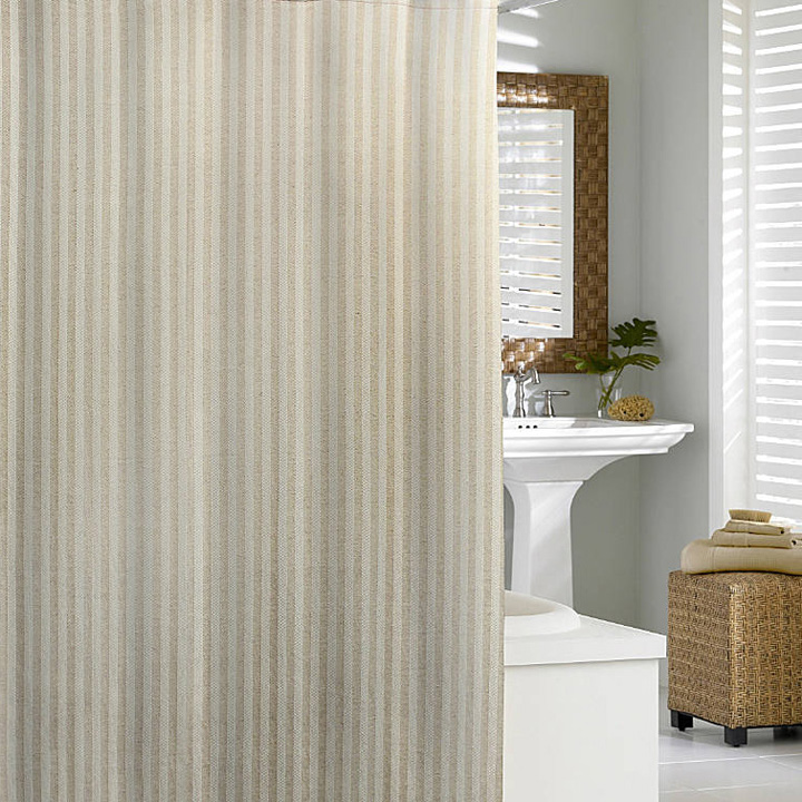 Kassatex Linen Chevron Shower Curtain Flax 72 X 72 In Gracious Style