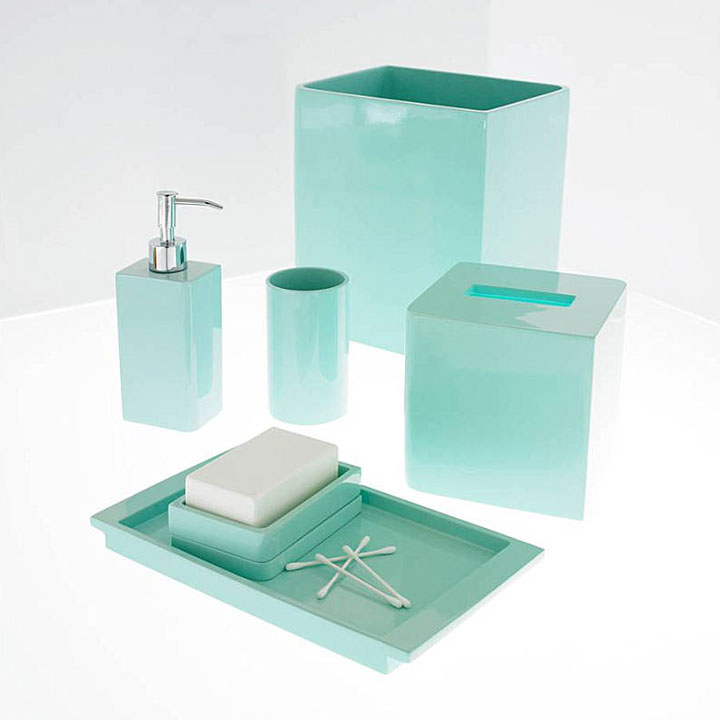 Lacca light blue bath accessories by kassatex gracious style for Teal bathroom accessories sets