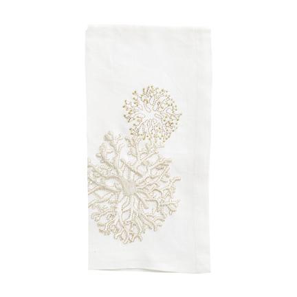 Round Coral Napkins - White/Beige, Four