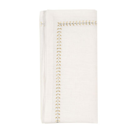 Herringbone Napkins - White/Gold/Silver