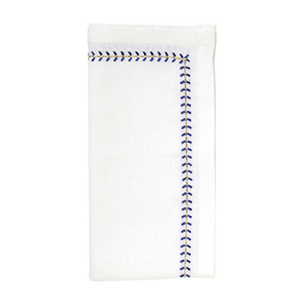 Herringbone Napkins - White/Cobalt/Metallic, Four