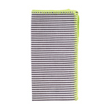 Seersucker Napkins - Black/Neon Green, Four