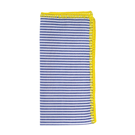 Seersucker Napkins - Blue/Citron, Four