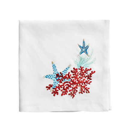 Sea Odyssey Napkins - White/Turquoise/Coral, Four